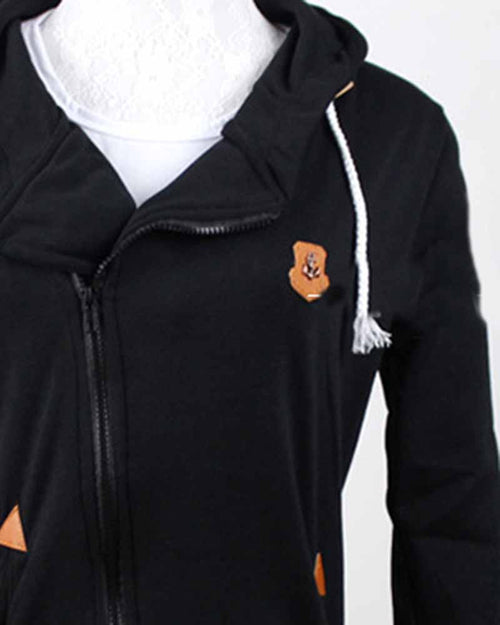 Black Zipper Pacted Drawcord Turn-down Collar Sweatshirt