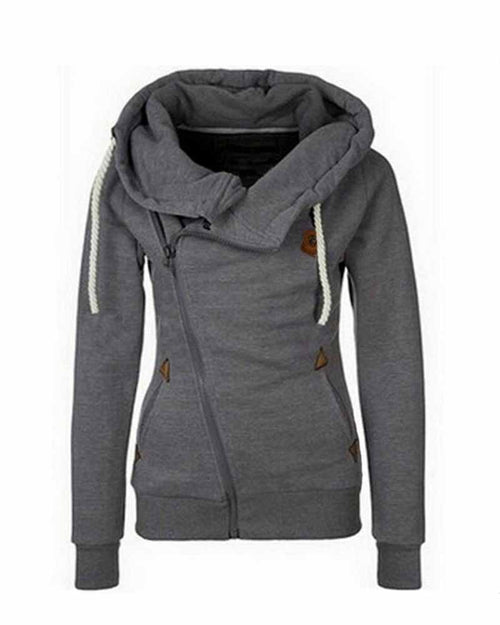 Grey Zip Front Pacted Drawcord Turn-down Collar Sweatshirt