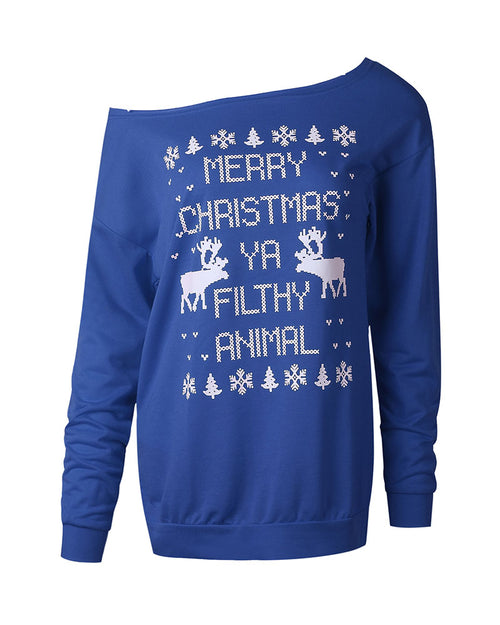 Blue Casual Christmas Slogan Print Sweatshirt