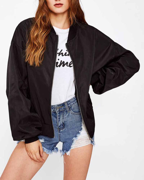 Black Graphic Print Patch Back Contrast Bomber Jacket