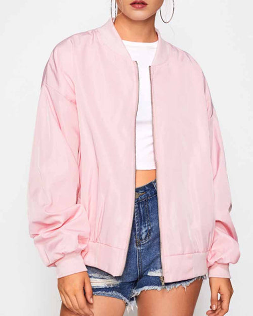 Pink Graphic Print Patch Back Contrast Bomber Jacket