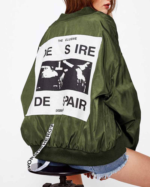 Green Graphic Print Patch Back Contrast Bomber Jacket
