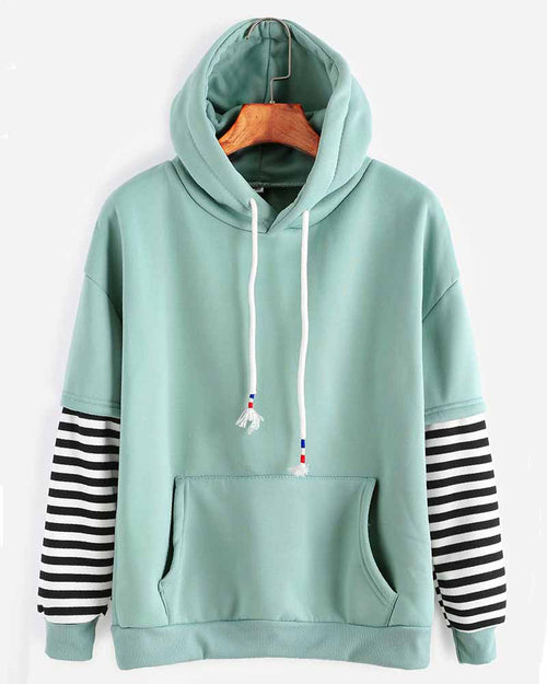 Green Stripe Contrast Kangaroo Pocket Drawstring Hoodie