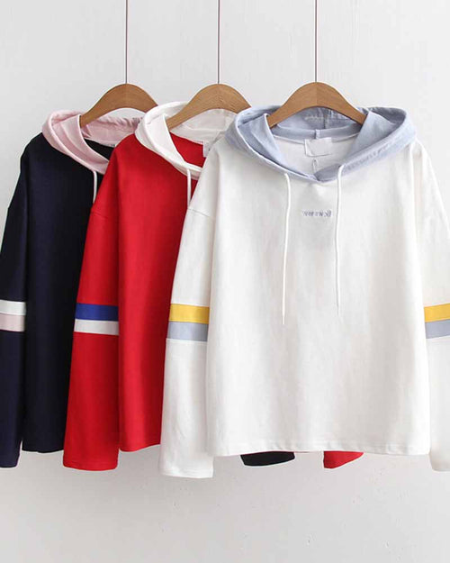 Slogan Embroidered Color Block Contrast Hoodie