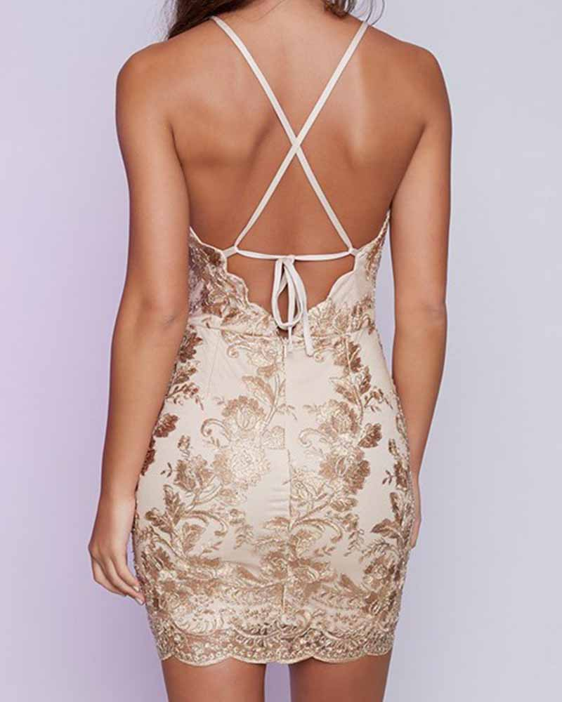 Lace Contrast Cut Out Halter Bodycon Dress