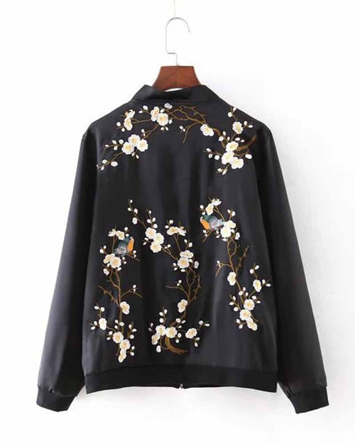 Graphic Embroidered Zip Front With Pockets Jacket