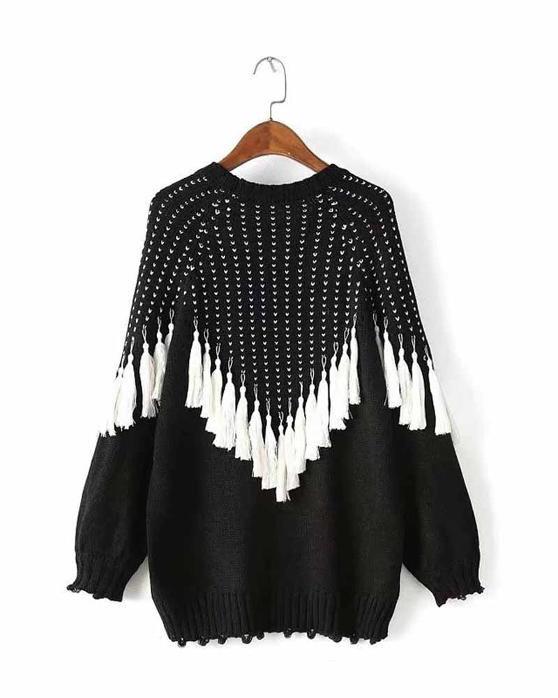 Tassel Trim Raglan Sleeve Sweater