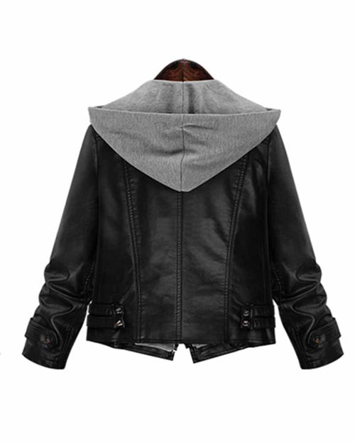 Faux Leather Zip Details Moto Hooded Jacket