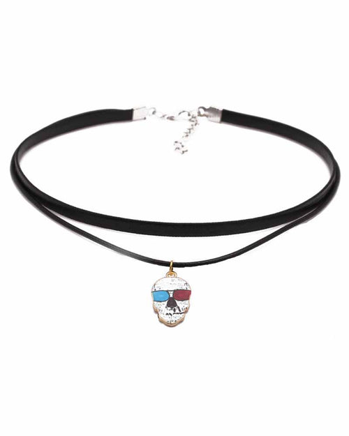 Layered Blue and Red Eyes Skeleton Pendant Choker
