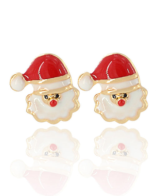 2Pcs Christmas Santa Shape Stud Earrings