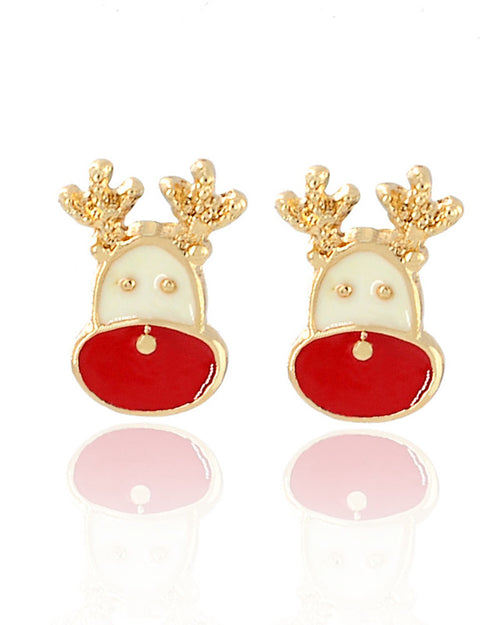 2Pcs Christmas Elk Shape Stud Earrings