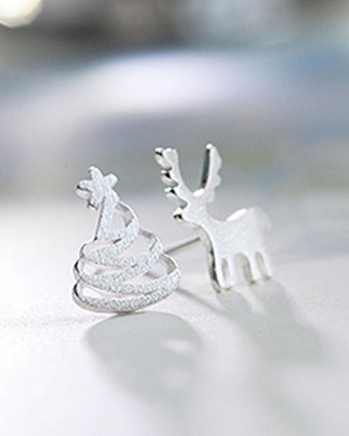 One Pair Silver Plated Elk And Tree Shape Stud Earrings