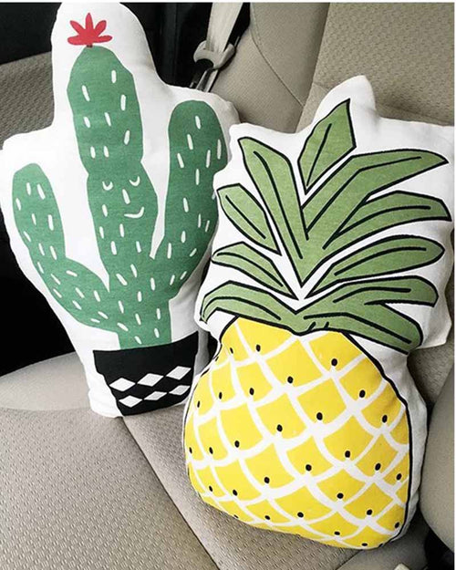 Pineapple and Cactus Print Pillow