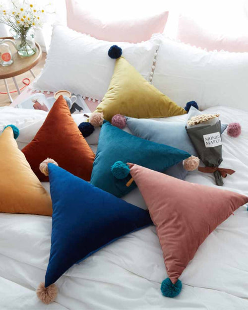 Plain Triangle Shape Pom Pom Details Pillow