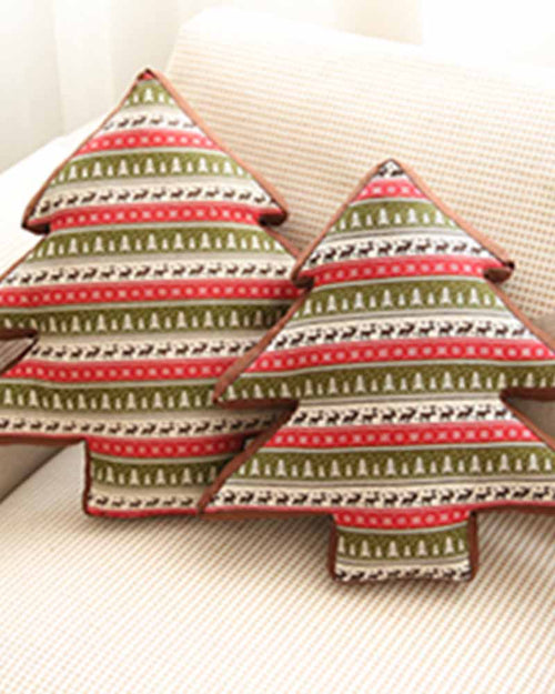 Christmas Tree Shape Print Pillow