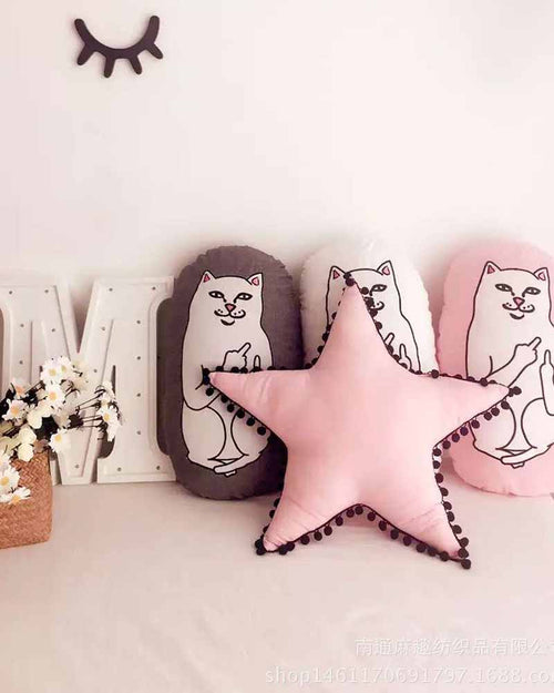 Star Shape Pompom Details Pillow