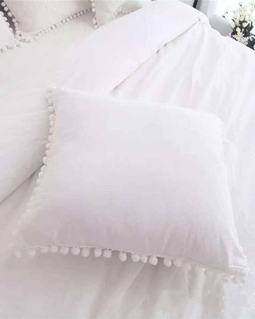 Square Shape Pompom Details Pillow