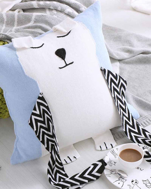 Cotton Bear Patch Pillow Cover