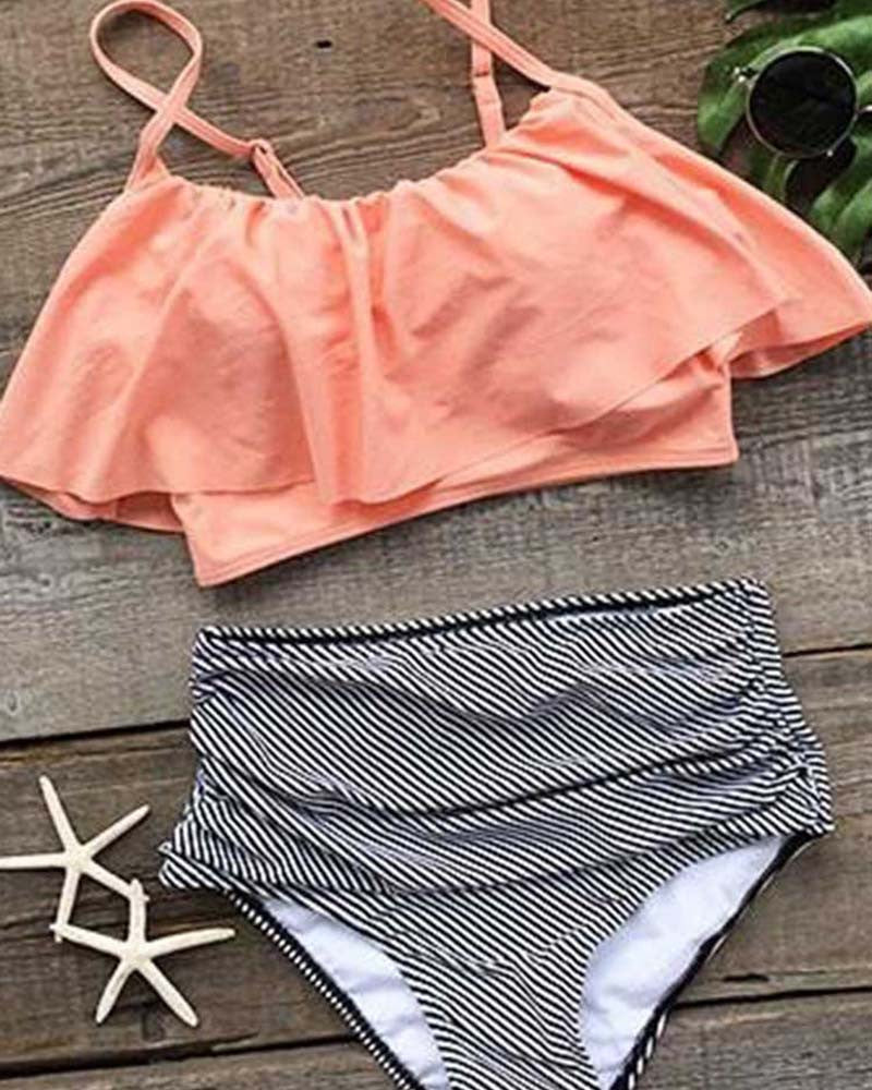 Ruffle Striped High-waisted Bikini Set