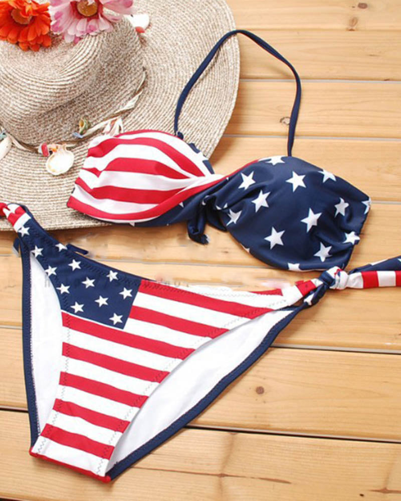 Stripe and Star Printed US Flag Lace up Bikini Set