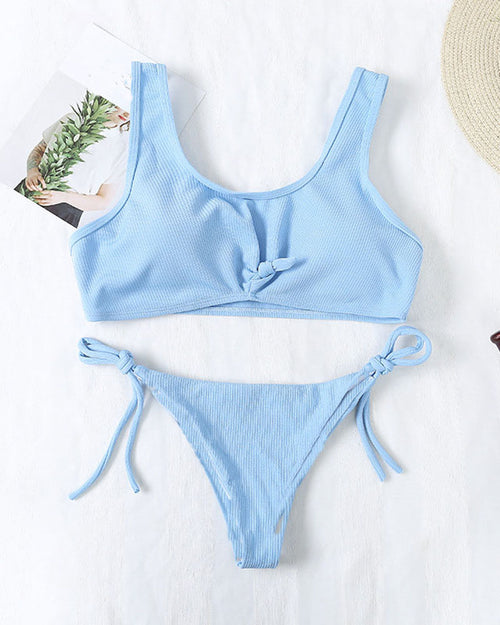 Sexy Knotted Lace Up Side Tie Bikini Set