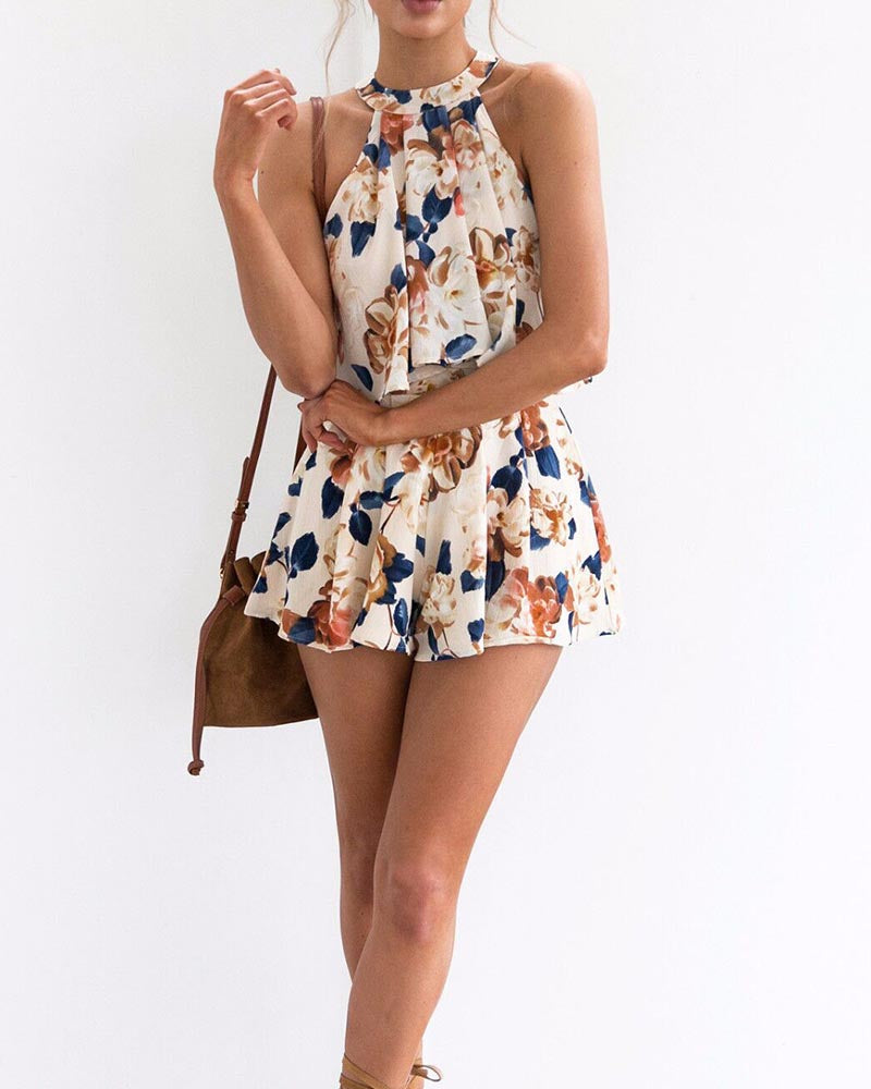 Floral Print Tie Back Pleated Top With Shorts