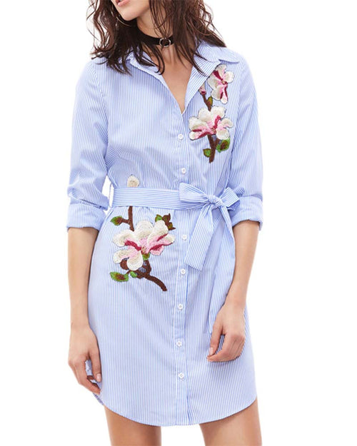 Blue Striped Self Belted Floral Embroidered Shirt Dress