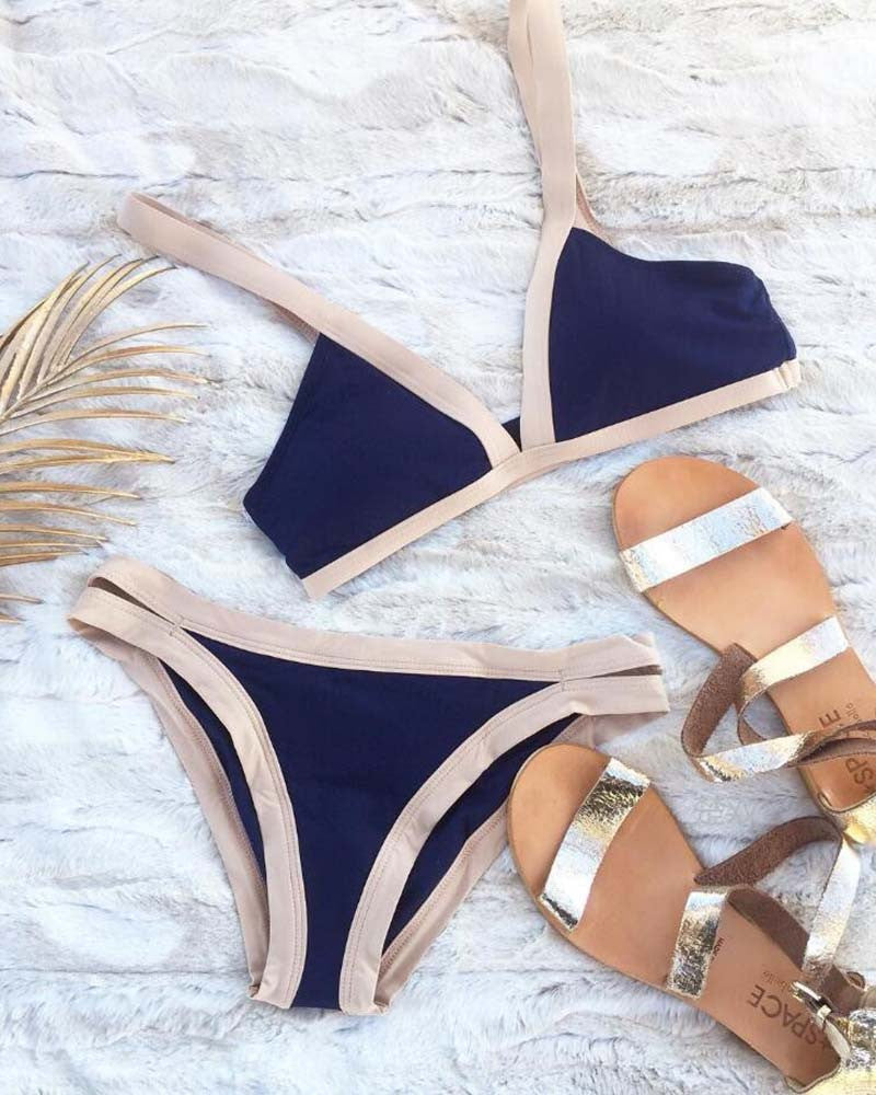 Contrast Trim Triangle Cut Out Bikini Set
