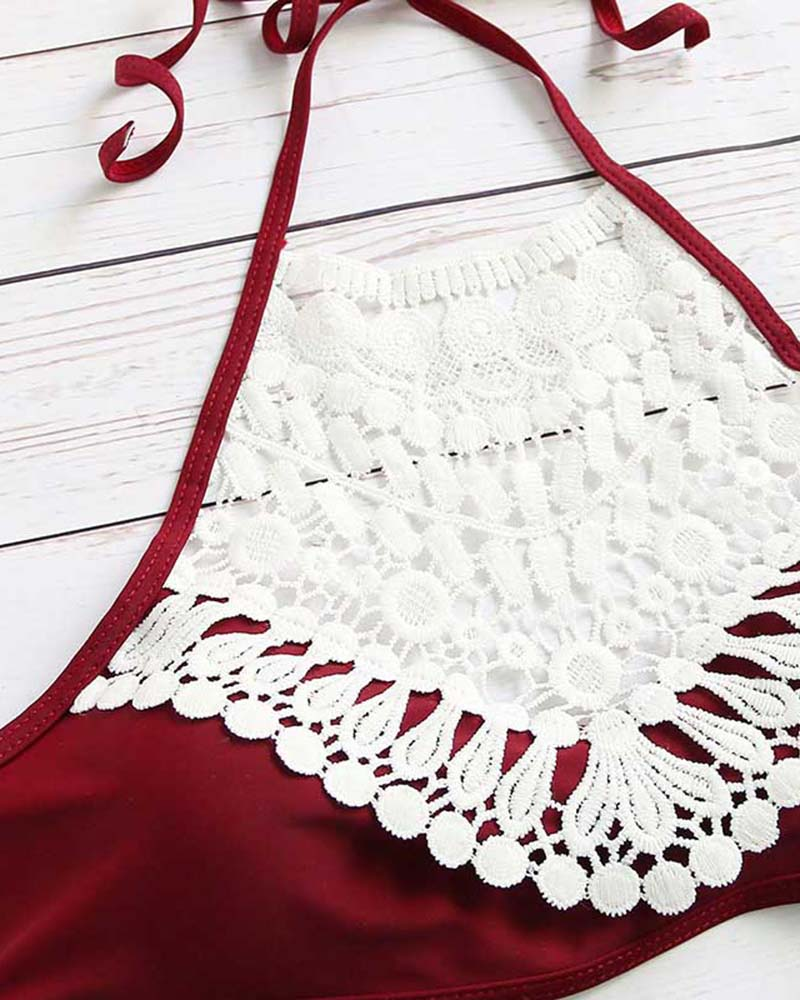 Vintage Crochet Halter Lace up Bikini Set