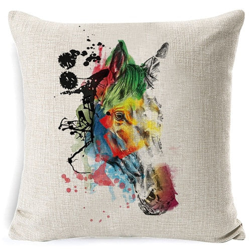 Artistic Painted Horses Pillow Case Cushion Cover - My Treasure Barn