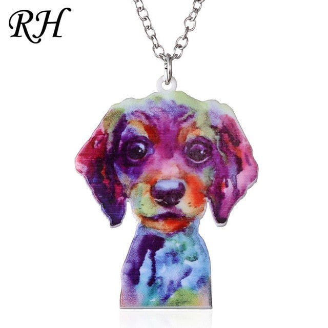 Acrylic Dog Artistic Pendant Necklace - My Treasure Barn
