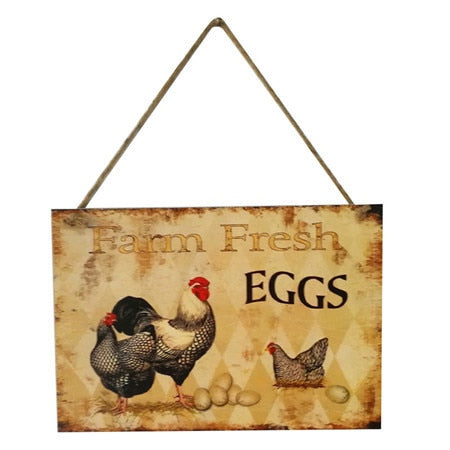Wooden Farm Rooster Hen Sign - My Treasure Barn