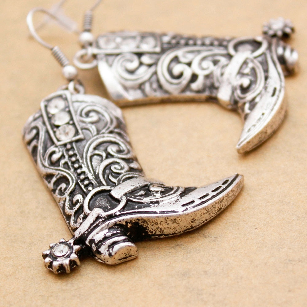 Wild West Silver Cowgirl Boots Spur Rodeo Earrings - My Treasure Barn