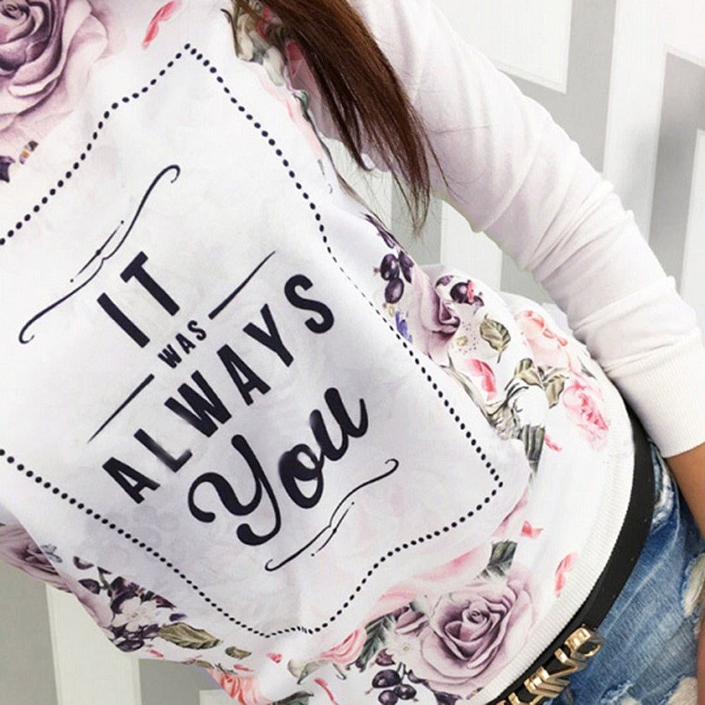 Loose T-shirt Long Sleeve Flower  Print Casual  Sweater - My Treasure Barn