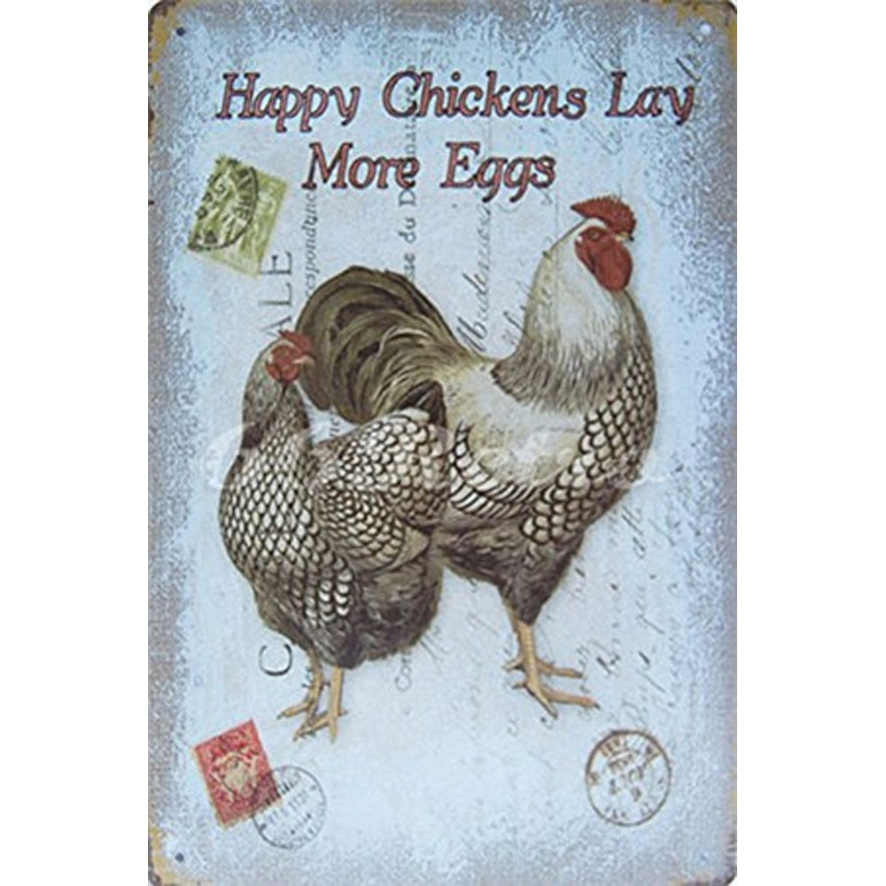 Chicken Vintage Shabby Chic Metal Tin Signs - My Treasure Barn