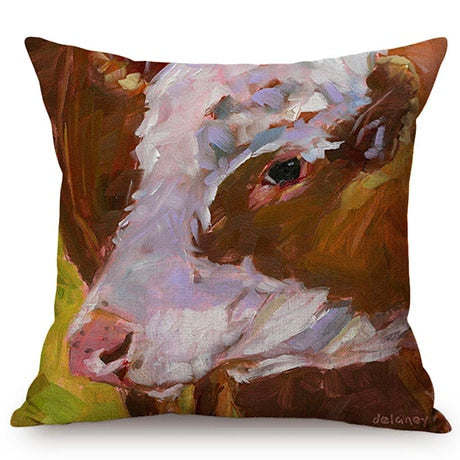3D Oil Painting Art Farm Animal Throw Pillow Case - My Treasure Barn