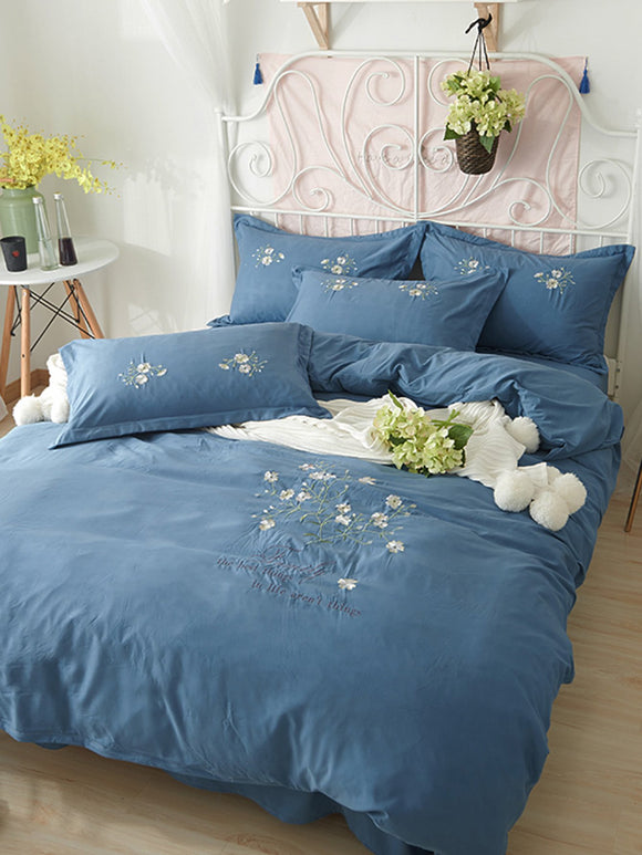 Flower Embroidery Bedding Set