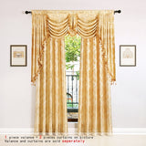 European Golden Jacquard Curtains for Living Room Luxury Window Curtains for Bedroom Elegant Damask Pattern Curtains Swag Valanc