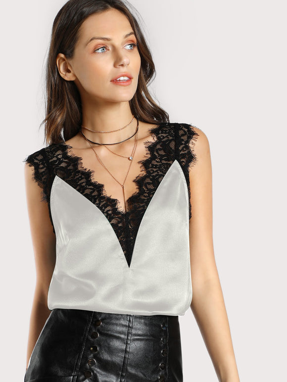 Lace Trim Double V Neck Satin Top