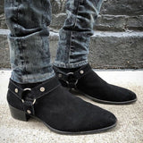 Autumn Winter Men Boots Fashion Suede Leather Round Toe Western Ankle Boots Casual Ankle Buckle Cowboy Ankle Booties Mens Casual