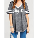 Plus Size Little Sister Big Stster Letters Printed Cotton T-Shirts Casual O-Neck Short Sleeve T-Shirts Tops