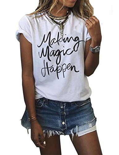 Womens Summer Letter Printing Pull Over Tops Girls Casual Short Sleeve Tees T-Shirt XXL White1