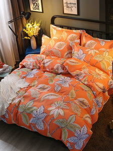 All Over Leaves Print Bedding Set