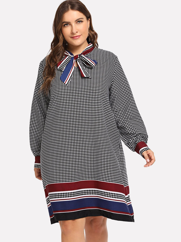 Plus Tie Neck Plaid Striped Dress