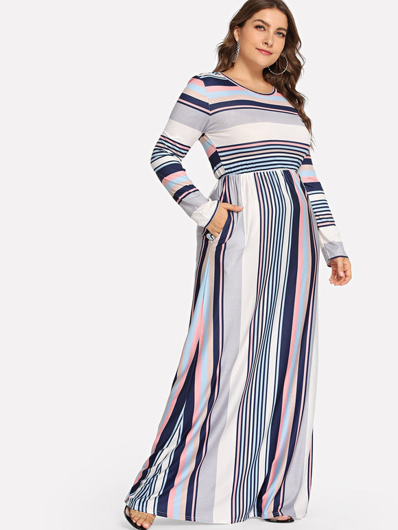 Plus Colorful Striped Dress