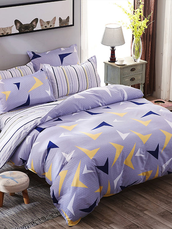 Geometric Print Striped Bedding Set