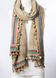 Boho Multi-Color Tassel Trim Mocha Scarf