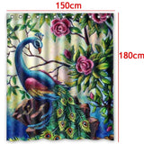 150X180cm 3D Printed Polyester Fabric Peacock Shower Curtains Waterproof Washable Bath Curtains + 12 C-type Hooks
