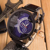 Analog Sport Steel Case Quartz Leather Wrist Watch