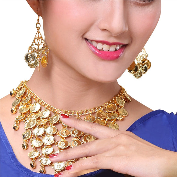 Two-Piece Belly Dance Golden Coin Necklace & Earring Kit Jewelry Set